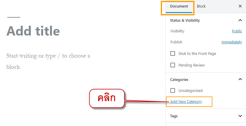 click document tab then click add new category
